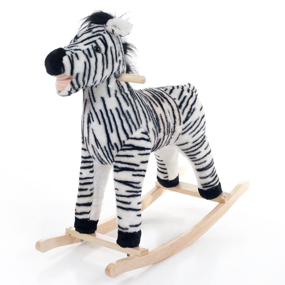 Happy Trails Black Zebra Plush Rocking Animal