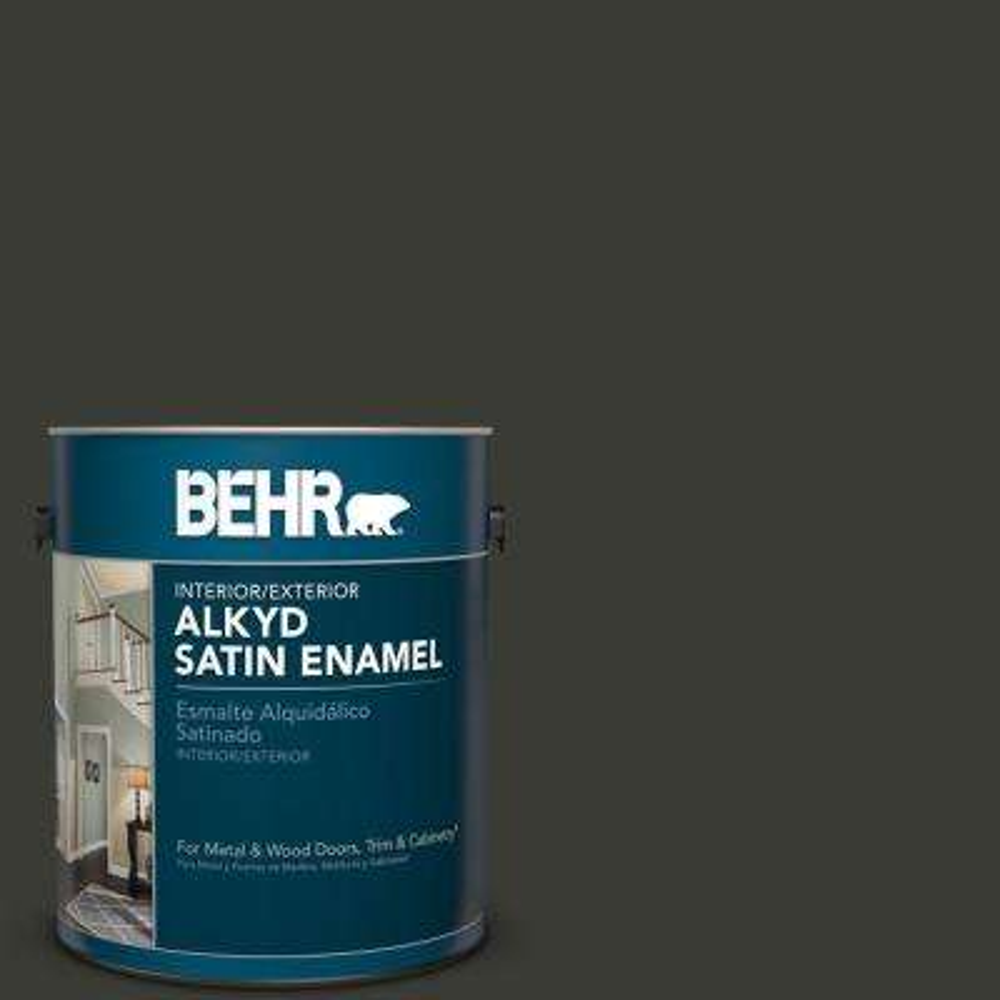 1 gal. #ECC-10-2 Jet Black Satin Enamel Alkyd Interior/Exterior Paint