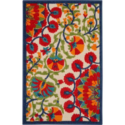 Aloha Easy-Care Red/Multicolor 3 ft. x 4 ft. Floral Modern Indoor/Outdoor Area Rug