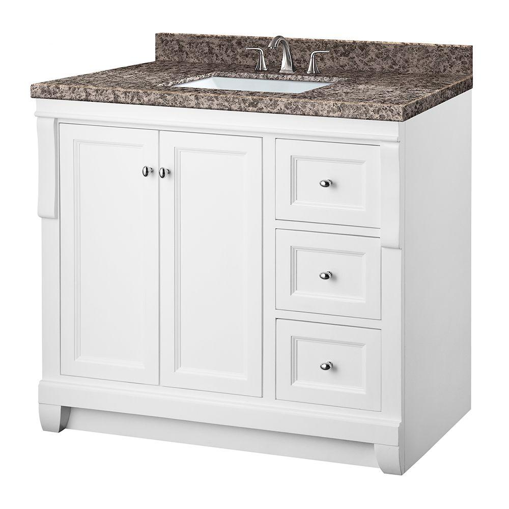 Pegasus Naples 37 in. W x 22 in. D Vanity in White with Granite Vanity Top in Sircolo and White Basin (4-piece) was $899.0 now $629.3 (30.0% off)