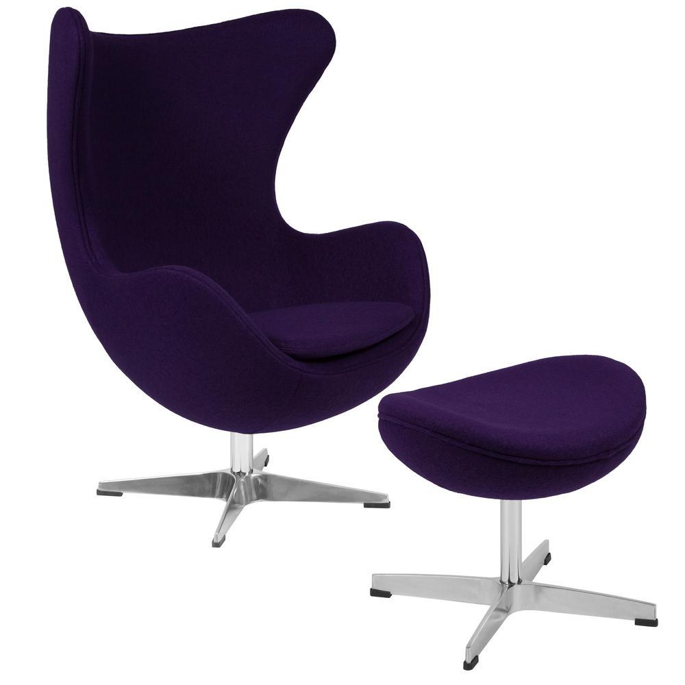 Purple Fabric Chair and Ottoman Set