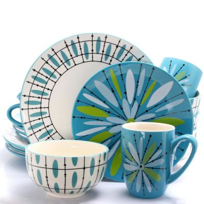 Luminescent Anza 16-Piece Teal Dinnerware Set