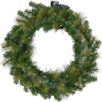 36 in. Southern Peace Artificial Holiday Wreath with Multi-Colored Battery-Operated LED String Lights