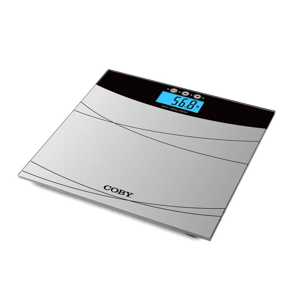 coby digital bathroom scale with color changing display and bmi estimator - Bathroom Scales