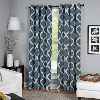 Semi-Opaque Luna Indigo Linen Look Window Curtain - 52 in. W x 95 in. L