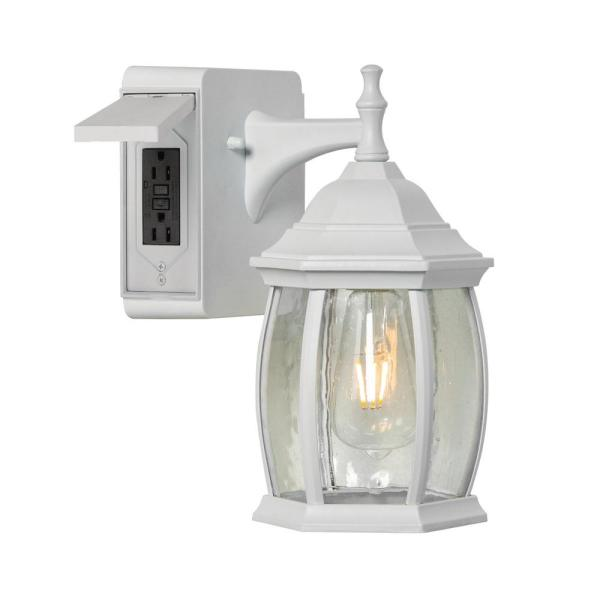 Addington Park Grace 1 Light Outdoor Wall Sconce With 2 Built In Gfci Outlets White 31848 The Home Depot
