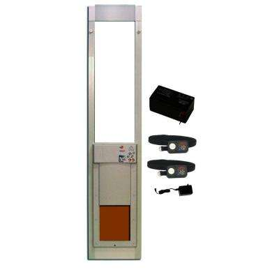 8 in. x 10 in. PowerPet Electronic Sliding Glass Pet Door DeluxPak with Free Addtional Collar and Recharge Battery