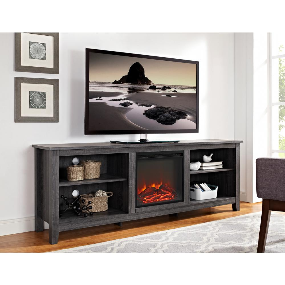 This Walker Edison Furniture Company Wood Media TV Stand Console with Fireplace in Charcoal adds traditional styling and visual interest to your decor.