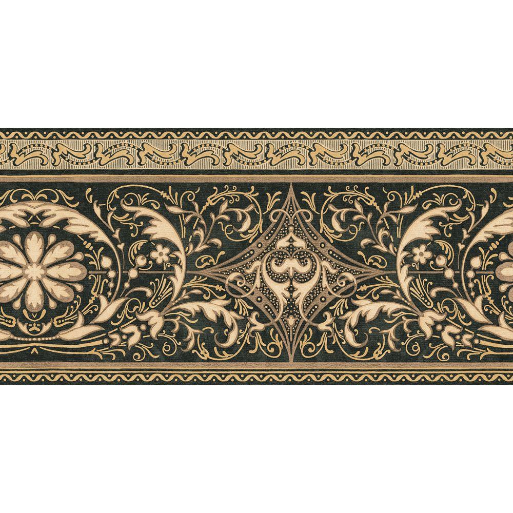 The Wallpaper Company 10.25 in. x 15 ft. Black and Gold Filigree Scroll Border