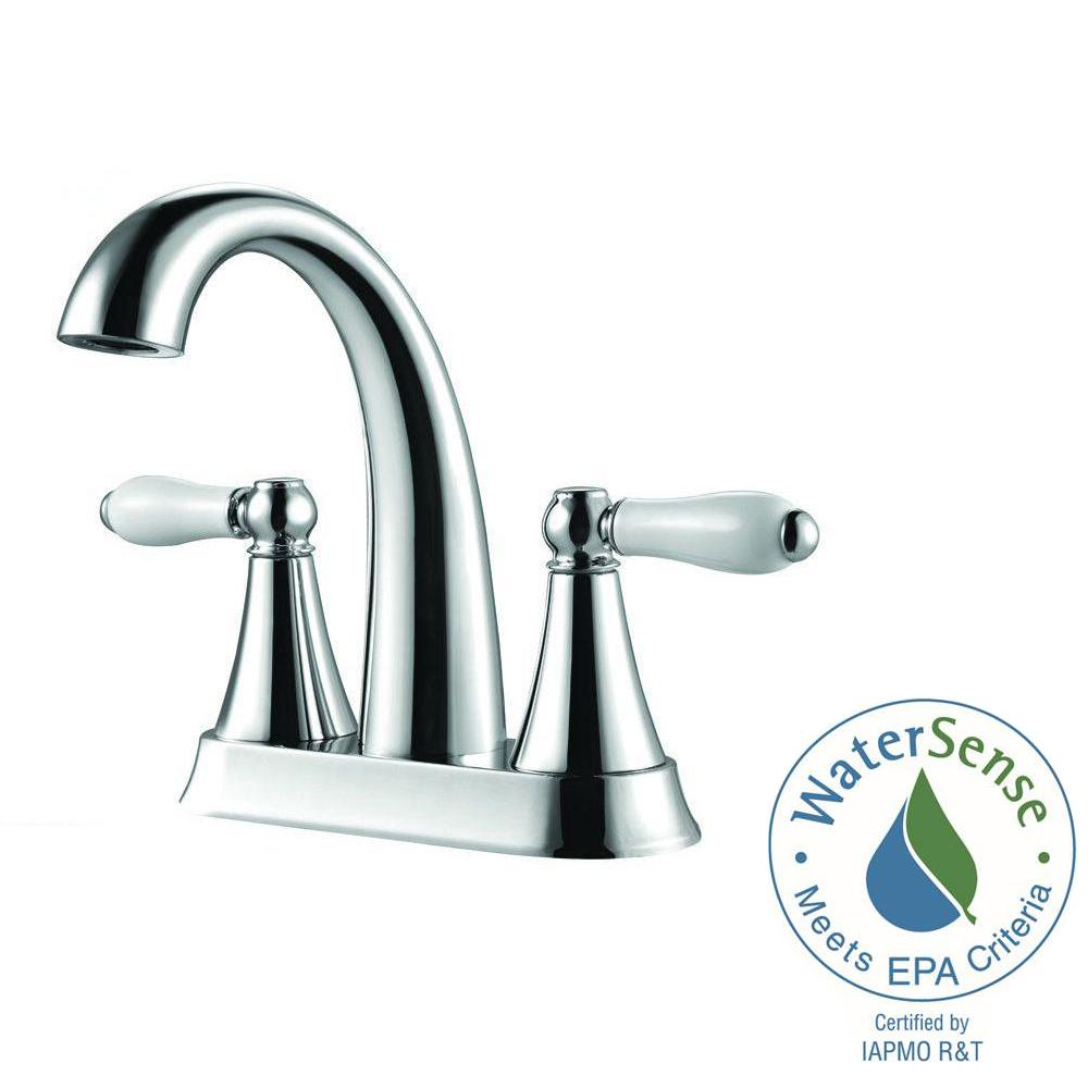 Pfister Kaylon 4 in. Centerset 2-Handle Bathroom Faucet in Polished ...