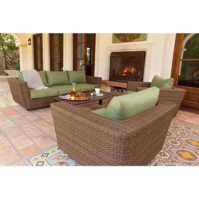 Greta 4-Piece Wicker Patio Conversation Set with Green Cushions
