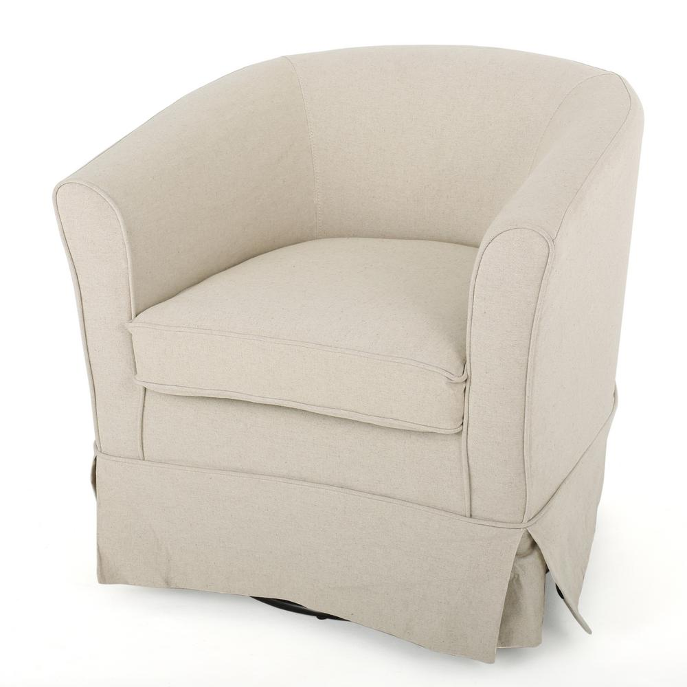 Noble House Cecilia Natural Fabric Swivel Chair With Loose Cover
