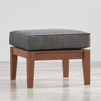 Verdon Gorge Brown Oiled Wood Outdoor Ottoman with Gray Cushion