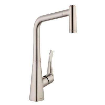 Metris Single-Handle Pull-Out Sprayer Kitchen Faucet in Steel Optik