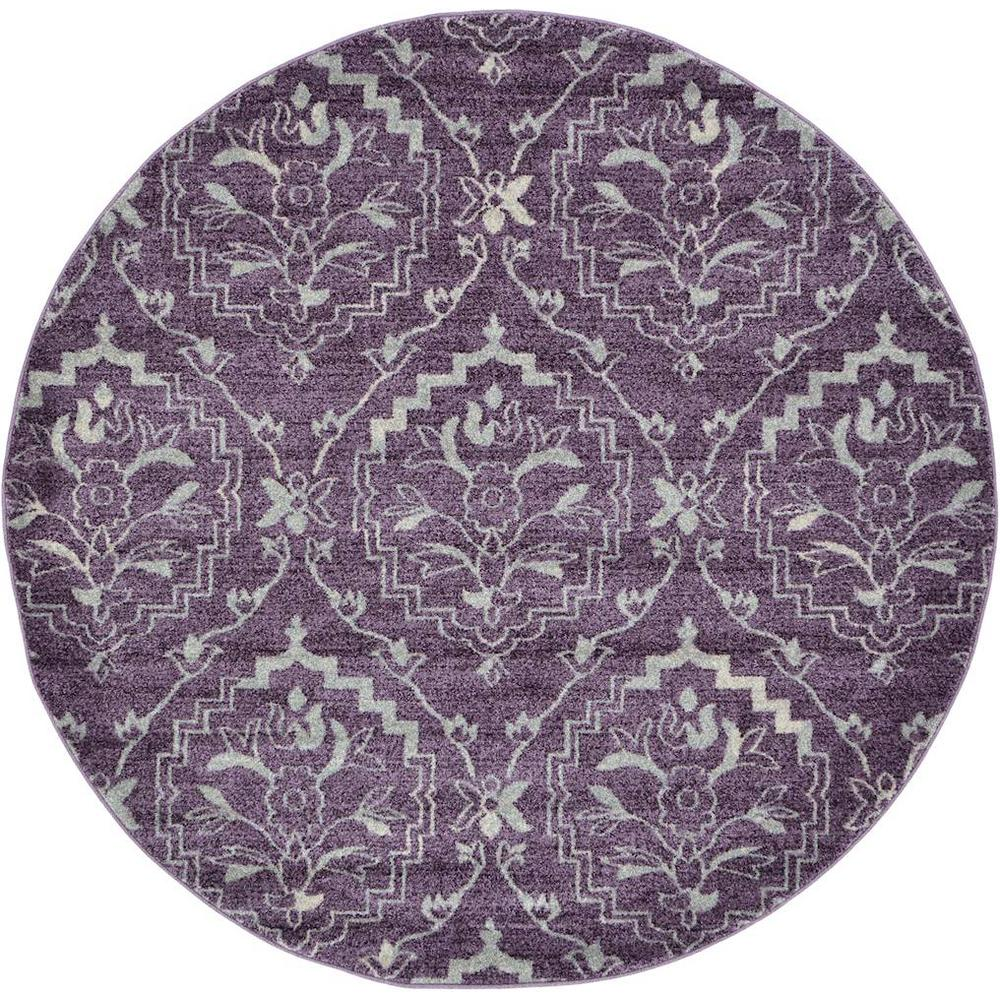 Unique Loom Damask Purple 6 X 6 Round Rug 3120687 The