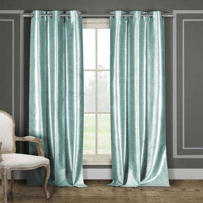Bali 38 in. x 96 in. L Polyester Faux Silk Curtain Panel in Aqua Blue (2-Pack)