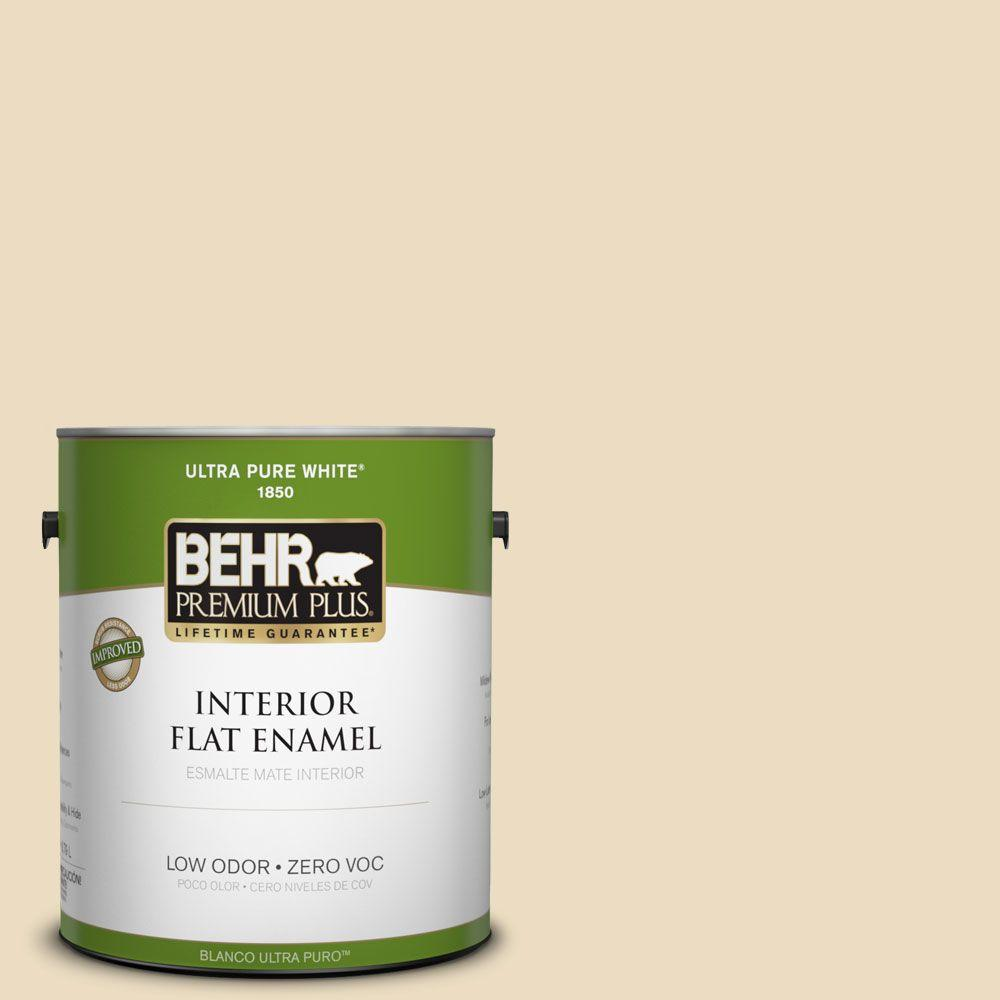BEHR Premium Plus 1-gal. #ECC-23-1 Golden Haystack Zero VOC Flat Enamel Interior Paint-DISCONTINUED