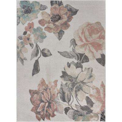 Meadow Rose Garden Pink / Gray Floral 5 ft. 2 in. x 7 ft. 2 in. Area Rug
