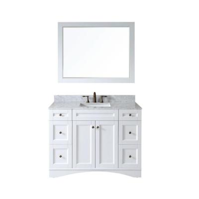 Virtu USA Elise 48 in. W Bath Vanity in White with Marble Vanity Top in White with Square Basin and Mirror