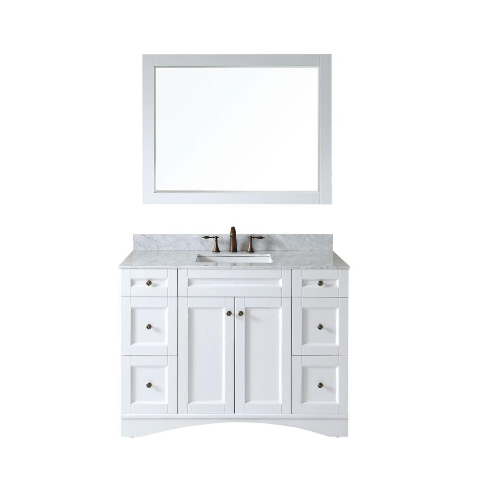 Virtu USA Elise In Vanity In White With Marble Vanity Top In - Home depot bathroom vanities 48 inch