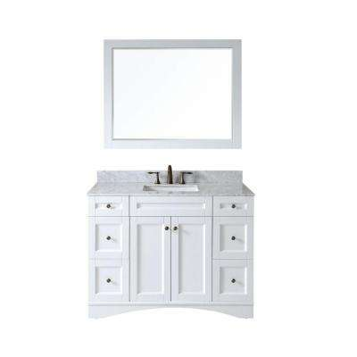 Elise 48 in. Vanity in White with Marble Vanity Top in Italian Carrara White and Mirror