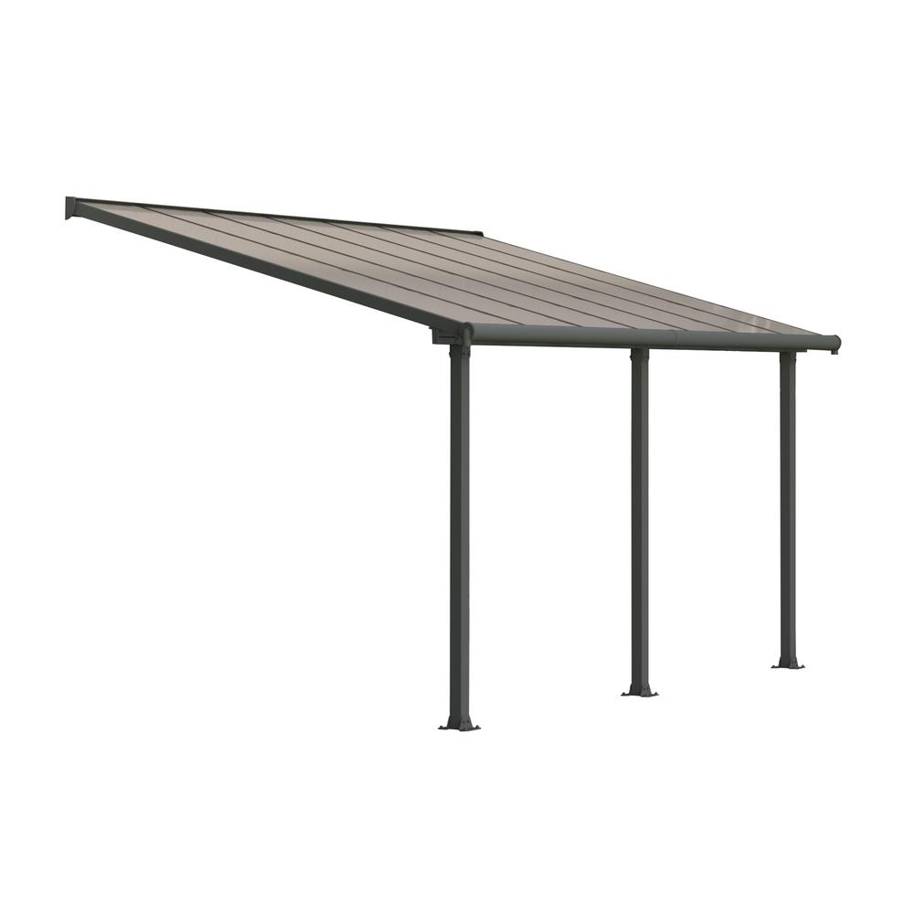 Palram Olympia 10 Ft. X 14 Ft. Grey/Bronze Patio Cover Awning