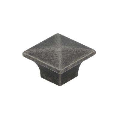Traditional 1-1/4 in. (32 mm) Pewter Square Cabinet Knob