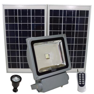 350 Watt Super Bright 30 Motion Activated Grey Outdoor Integrated LED Solar Power Flood/Security Flood Light Remote