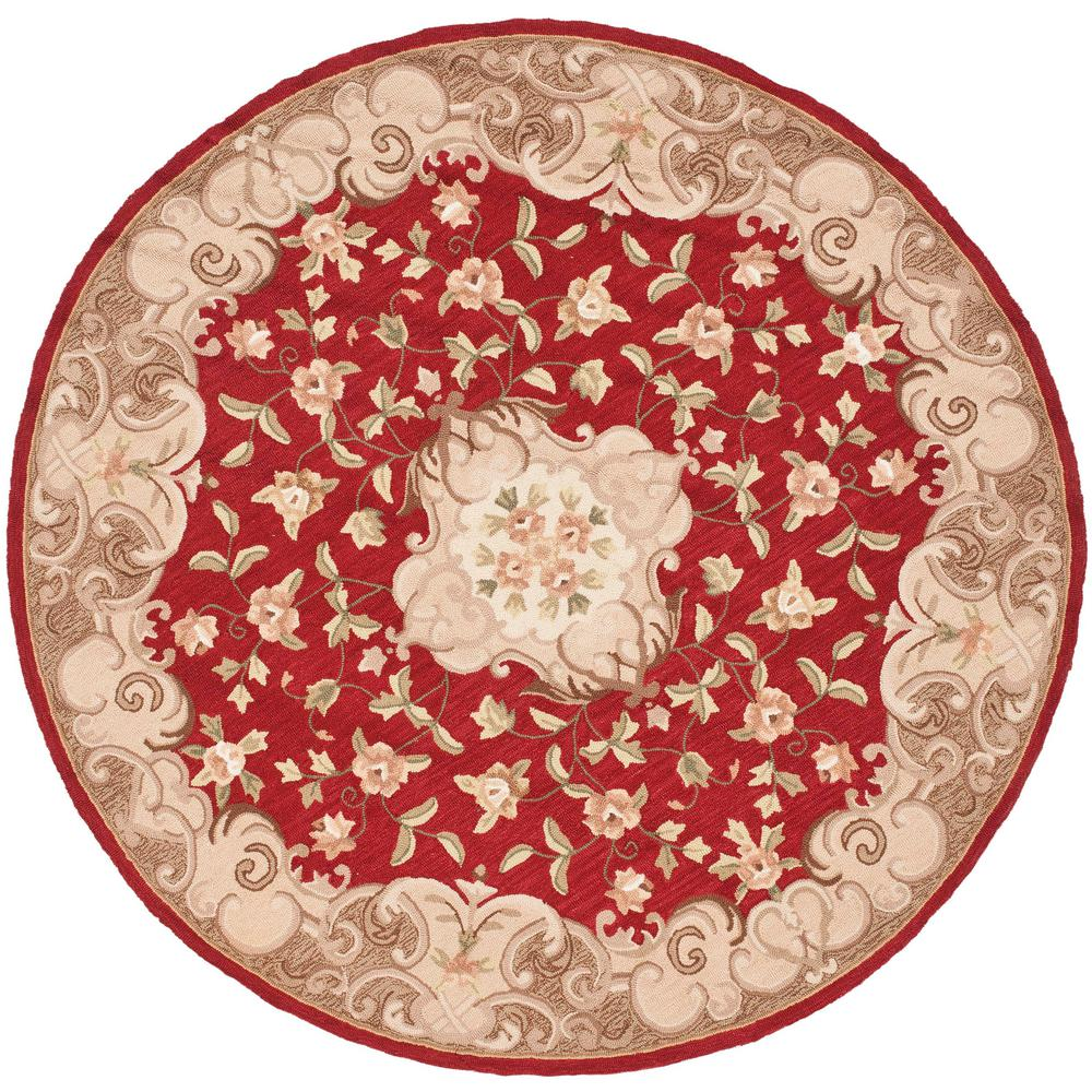 Easy Care Rust/Sage 6 ft. x 6 ft. Round Area Rug