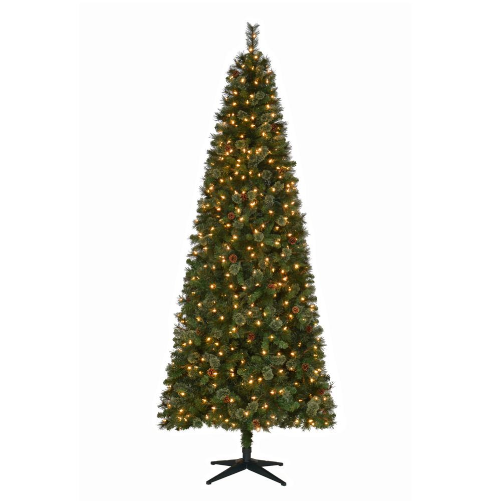 martha stewart living 9 ft pre lit led alexander pine quick set artificial christmas tree with pinecones and warm white lights tg90m5311l00 the home - 9 Pre Lit Christmas Tree