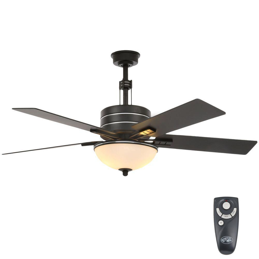 Hampton Bay Carlsbad 52 In Indoor Black Ceiling Fan With Light Kit And Remote Control