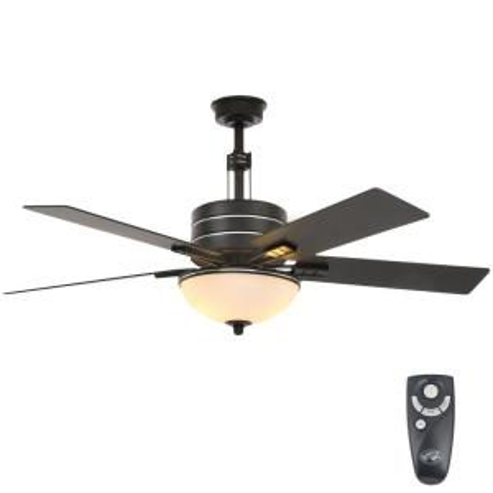 hunter fairhaven 52 in indoor basque black ceiling fan with light rh homedepot com