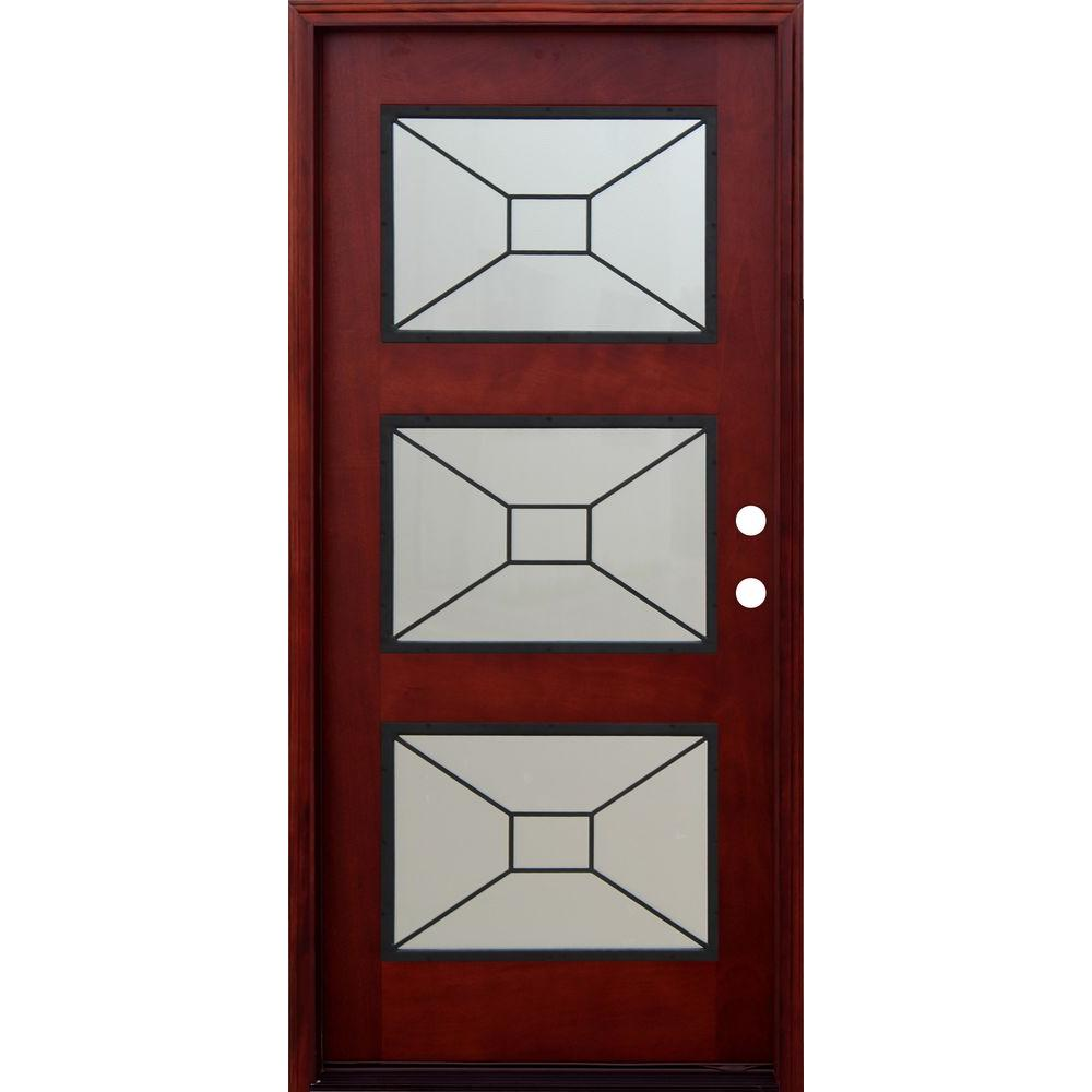 Pacific entries 36 in x 80 in contemporary 3 lite for Mahogany doors