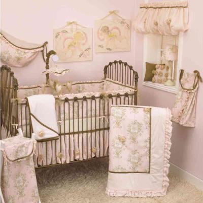 Lollipops and Roses Pink Toile 4-Piece Crib Bedding Set