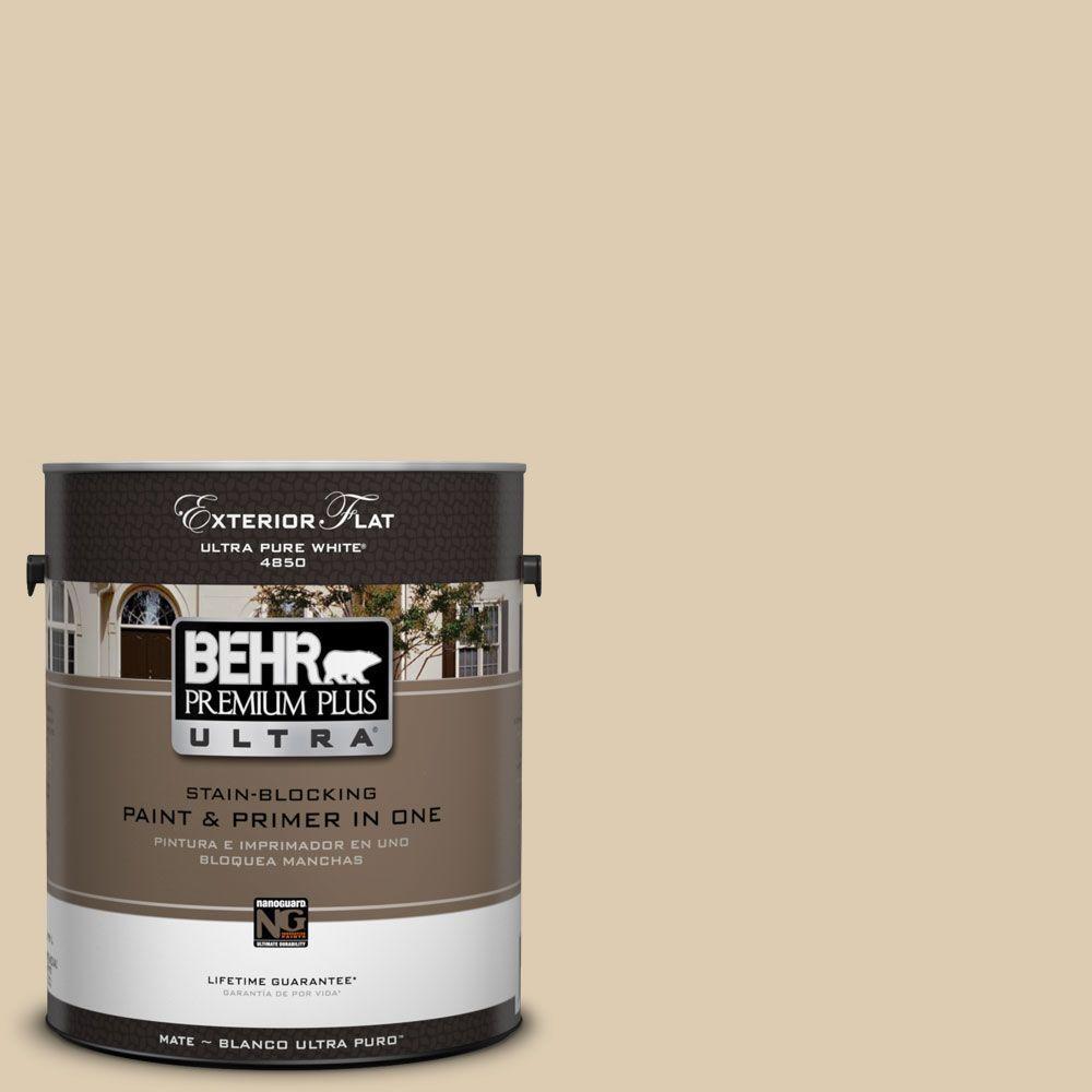 BEHR Premium Plus Ultra 1-Gal. #UL160-15 Bone Flat Exterior Paint