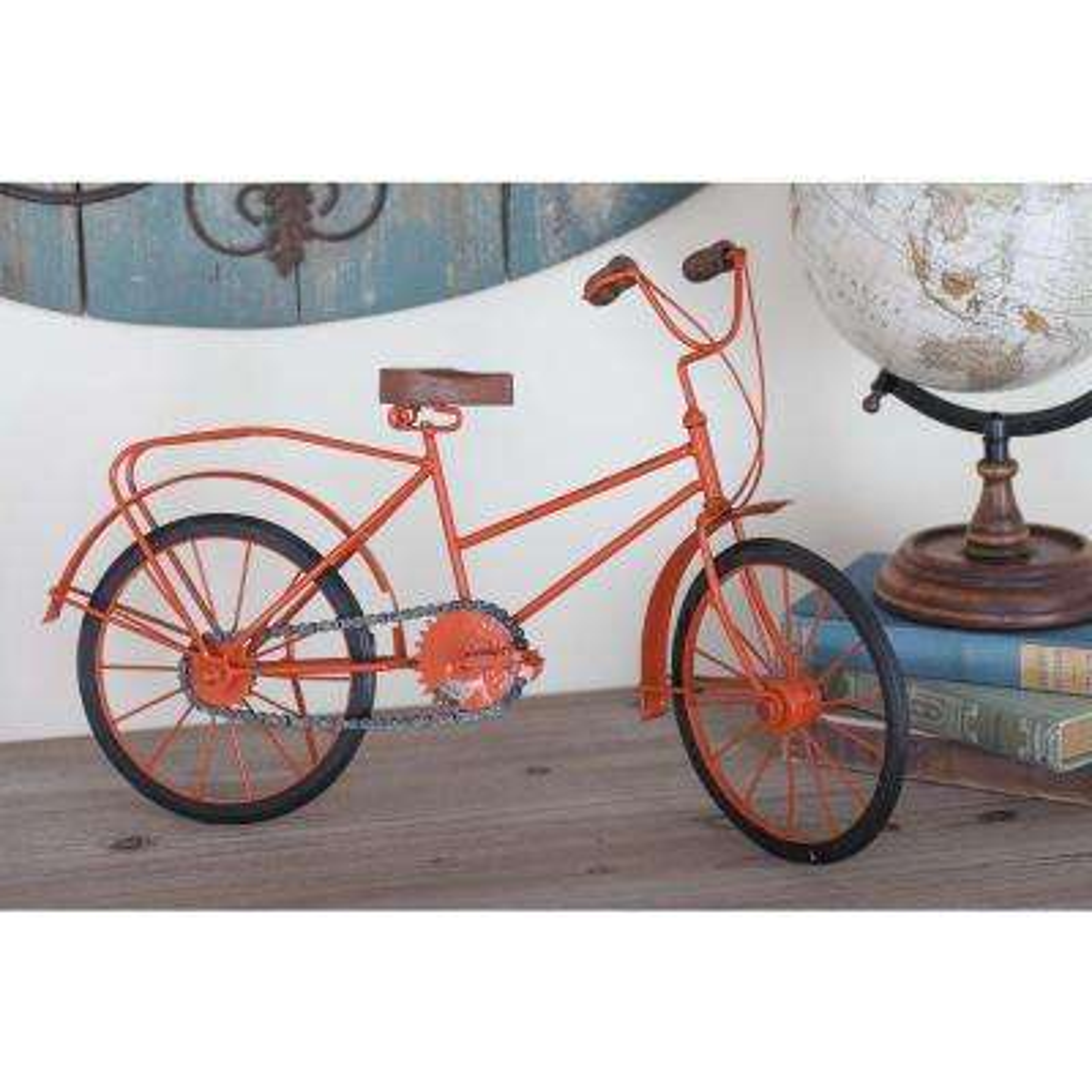 12 in. x 18 in. Iron Bicycle Decorative Sculpture in Orange