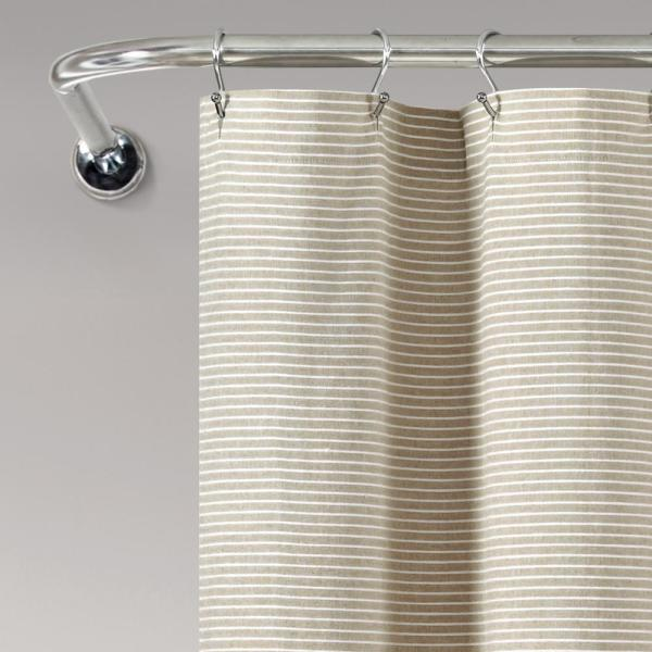 Lush Decor Farmhouse Button Stripe Yarn Dyed Woven Cotton Shower Curtain Linen Single 72x72 16t005474 The Home Depot