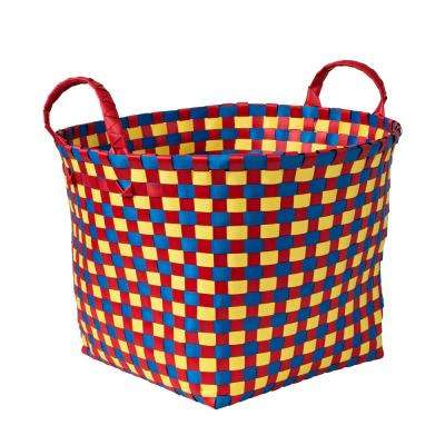 16 in. W x 11 in. H Green and Blue PP Resin Weave Basket
