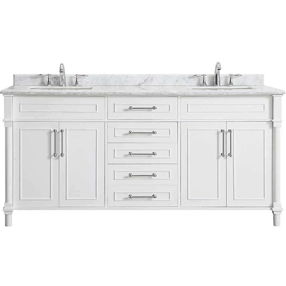 Home Decorators Collection Aberdeen 72 in. W x 22 in. D Bath Vanity in White with Carrara Marble Top with White Sinks