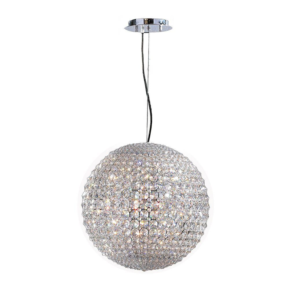 Worldwide Lighting Pluto Collection 12-Light Chrome and Crystal Pendant