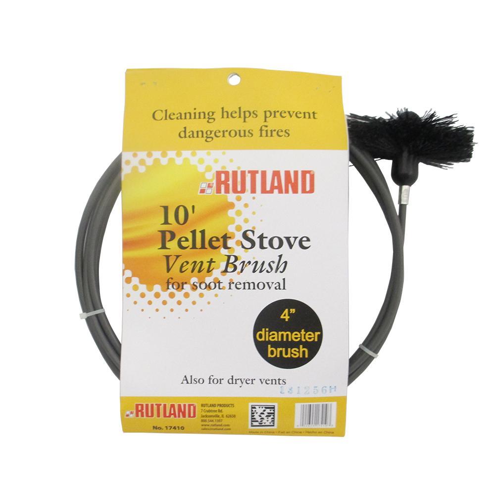 Rutland 4-Inch Pellet Stove/Dryer Vent Brush with 10-Feet Handle
