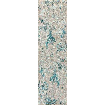 Contemporary POP Modern Abstract Vintage Faded Gray/Blue 2 ft. 3 in. x 8 ft. Runner Rug