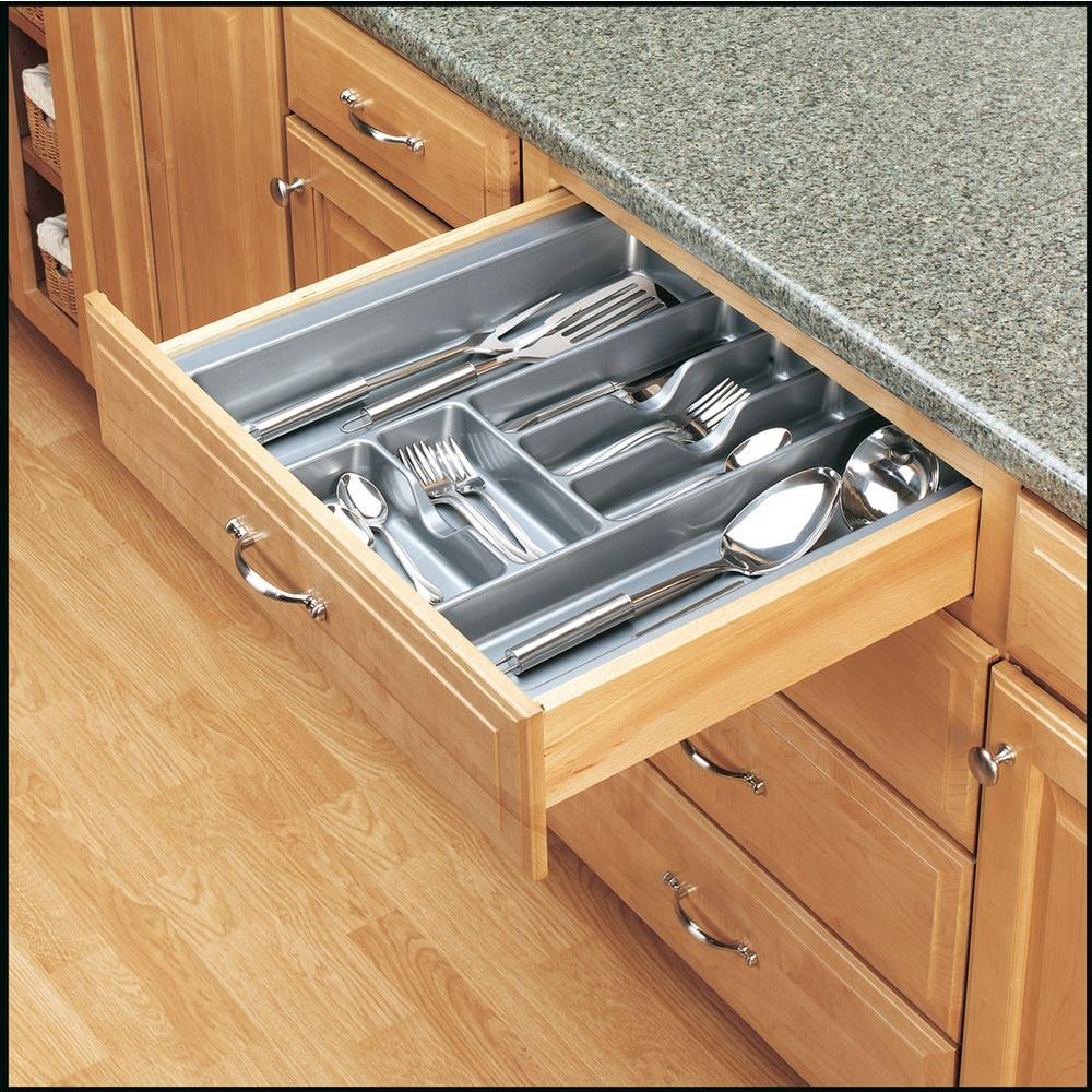 Rev A Shelf Extra Large Glossy Silver Cutlery Tray Kitchen Drawer