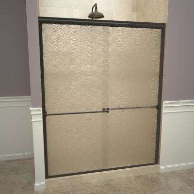 1000 Series 60 in. W x 70 in. H Semi-Frameless Sliding Shower Doors in Oil Rubbed Bronze with Towel Bar