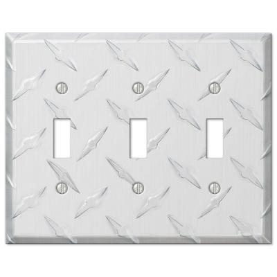 Diamond Plate 3 Gang Toggle Aluminum Wall Plate - Aluminum