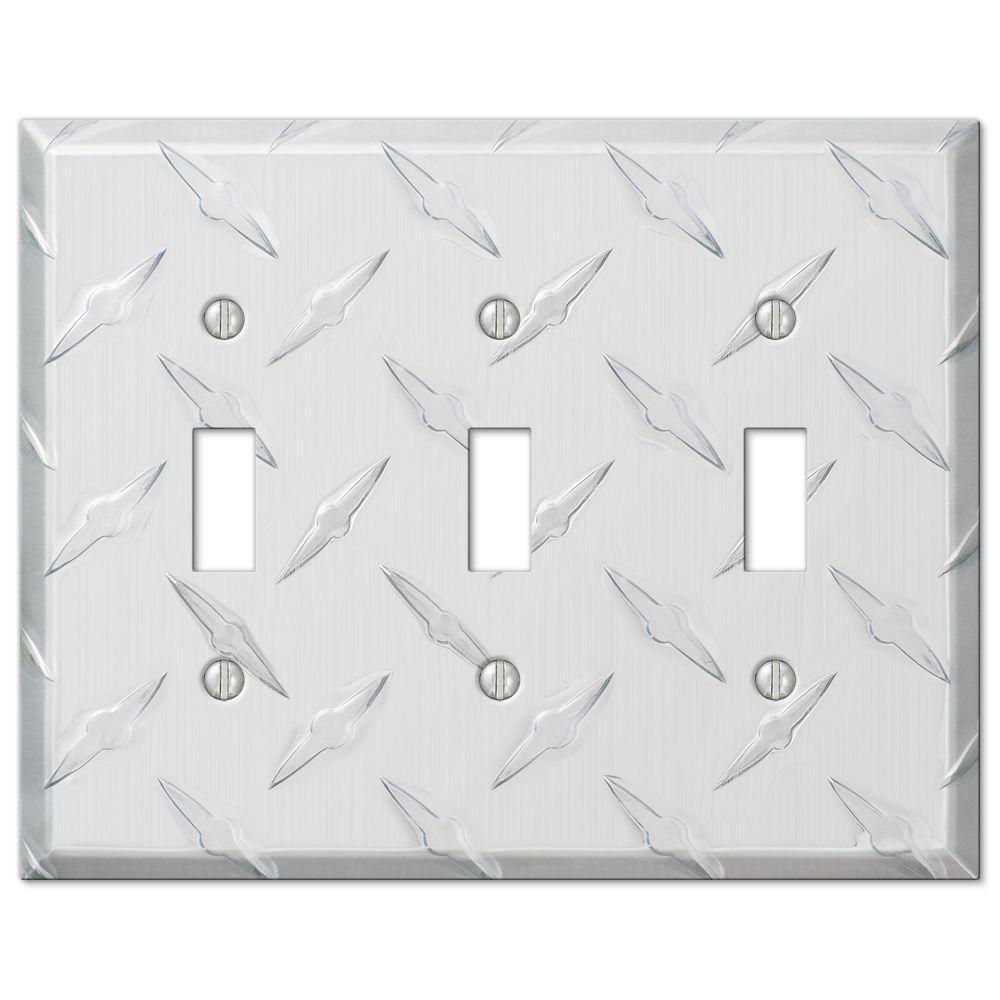 garage diamond cut 3 toggle wall plate chrome