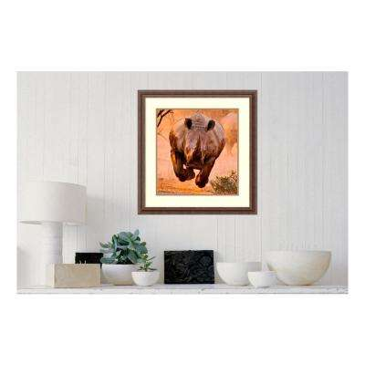 25 in. W x 26 in. H 'Rhino Learning To Fly' by Justus Vermaak Framed Print Wall Art