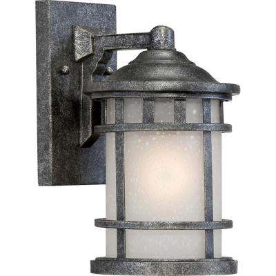 Kylee 1-Light Aged Silver Outdoor Wall Mount Sconce