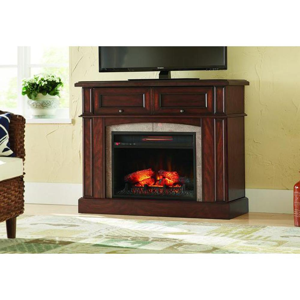 Home decorators collection bellevue park 42 in mantel for Dark fireplace mantel