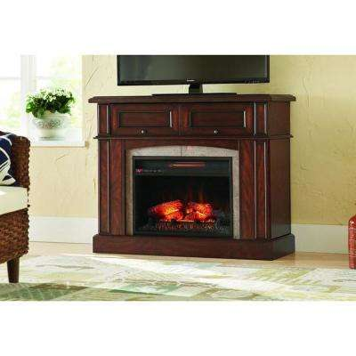 Bellevue Park 42 in. Mantel Console Infrared Electric Fireplace in Dark Brown Cherry Finish